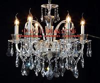 欧式银色室内透明水晶吊顶蜡烛暖光铜灯