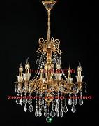 欧式金色室内透明水晶吊顶蜡烛暖光铜灯
