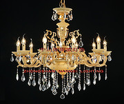欧式橙色室内透明水晶蜡烛铜灯