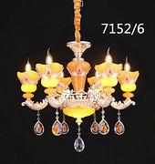 欧式蜡烛水晶黄色吊灯