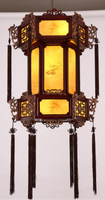 匠宫灯饰新古典中式吊灯实木雕花灯笼创意茶楼餐厅