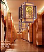 中式木艺雕花过道吊灯