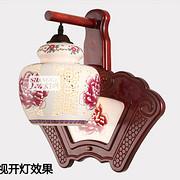 中式木艺陶瓷走廊壁灯
