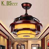 中式LED隐形双光遥控木艺羊皮电风扇灯