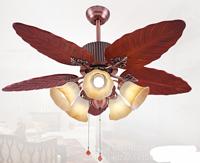 美式古典红木叶68寸客厅餐厅风扇灯