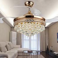 欧式地中海豪华水晶隐形三色变光遙控风扇灯