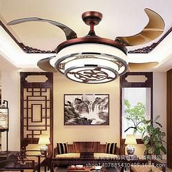 中式古典42寸卧室书房遙控控制风扇灯