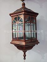 古典仿木LED长方形镂空户外过道壁灯