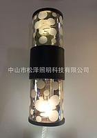 现代LED圆柱形波点户外过道壁灯