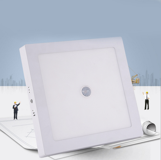 LED吸顶灯人体感应面板灯智能明装楼道免开孔方形筒灯天花灯