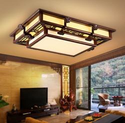 新中式长方形仿古木艺羊皮亚克力客厅卧室餐厅吸顶灯