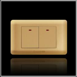 西野 暗装118类卡宴系列金色面板纯平面双控开关