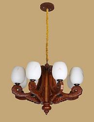 御灯阁木艺中式吊灯8筒8677-8