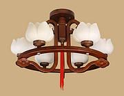 御灯阁木艺中式吊灯6筒8679-6