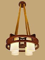 御灯阁木艺中式吊灯4筒8688-4