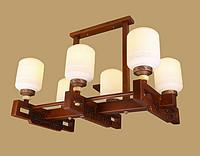 御灯阁木艺中式吊灯6筒8708-6