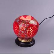 中式卧室水晶可调光陶瓷镂空台灯