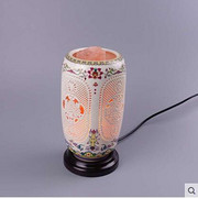 中式传统卧室水晶可调光陶瓷镂空台灯