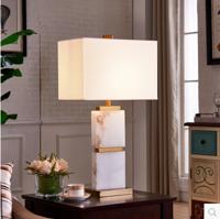 南葛现代简约白色花纹云石台灯创意设计师方形大理石古铜色五金台灯