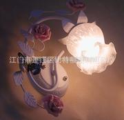 荆江欧式田园卧室过道楼梯走廊创意玫瑰花壁灯