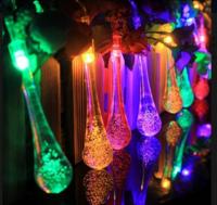 镭纹厂家直销太阳能20灯水滴造型户外防水装饰节日婚庆景观庭院彩灯