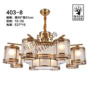 中式奢华客厅圆柱形铜吊灯