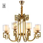 中式奢华客厅透明圆柱形铜吊灯