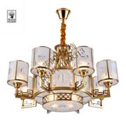 中式奢华客厅白色圆柱形铜吊灯