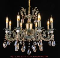 欧式典雅玻璃蜡烛吊灯