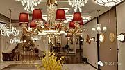 卡尔斯特现代室内玻璃镀金红色吊灯