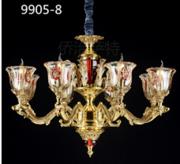 侨治萨特现代室内9905-8镀金玻璃罩吊灯