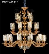 侨治萨特现代室内黄铜本色9907-12+8+4吊灯