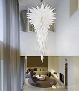 博思西梦现代室内玻璃白色大型吊灯