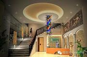 博思西梦现代室内酒店大厅五彩大型吊灯