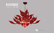 博思西梦现代室内红色玻璃中型吊灯