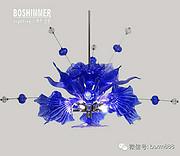 博思西梦现代室内蓝色玻璃工艺吊灯