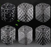 新中式简约玻璃方形白色清光丝印100*120灯罩
