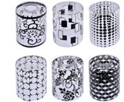 新中式简约玻璃圆形黑色清光丝印120*150灯罩
