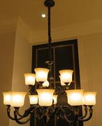 星宇达邦美式铜灯HD2303-10+5室内大型玻璃罩吊灯