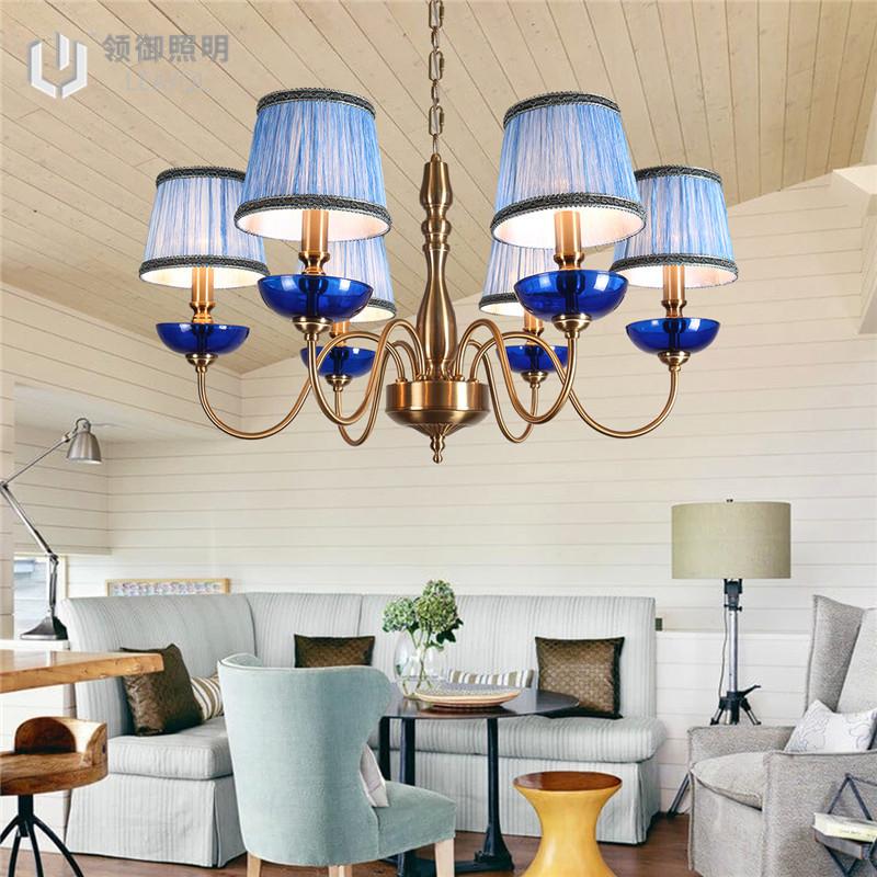 地中海客厅灯 蓝色吊灯 欧式别墅吊灯 售楼部吊灯 创新吊灯