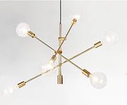 雅蔻北欧美式创意玻璃极简LED电镀金几何线条铁艺吊灯
