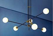 雅蔻北欧后现代圆形玻璃球铁艺LED玻璃分子极简吊灯