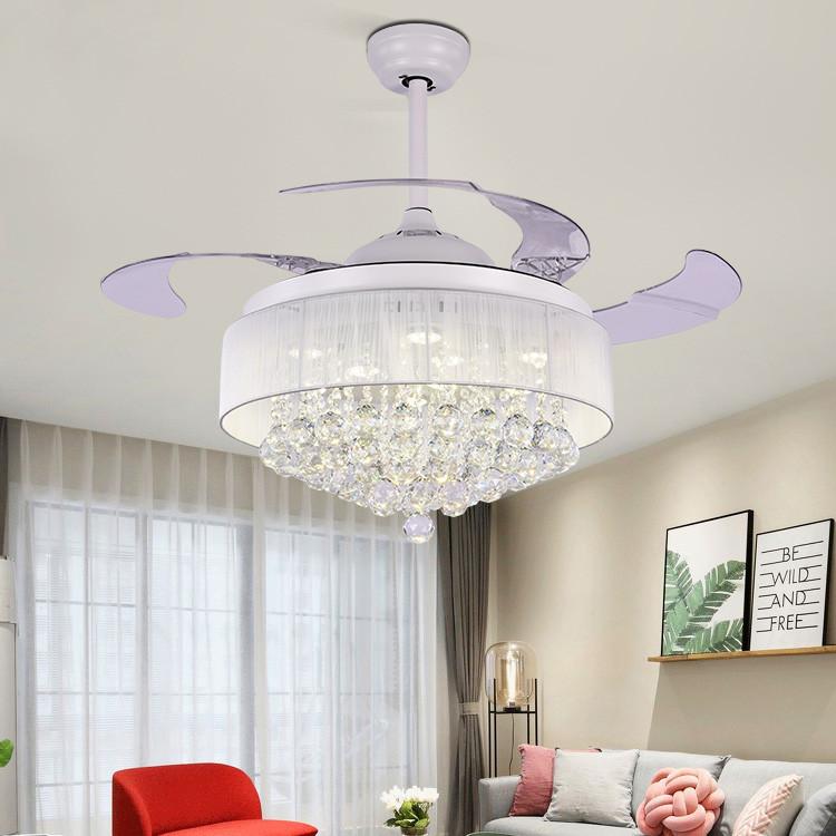 欧式水晶隐形吊扇灯餐厅客厅风扇灯家用现代带灯的遥控电风扇吊灯