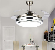 现代双层铝四色变光配遥控客厅隐形吊扇灯