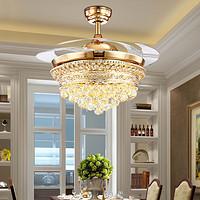 欧式贵族豪华三色隐形水晶遙控风扇灯