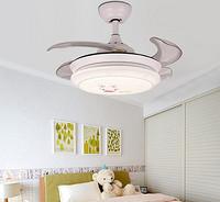 简约现代白色隐形风扇灯 带LED的风扇吊灯家用卧室36寸儿童吊扇灯