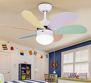 儿童风扇灯 卧室幼儿园彩色木叶带灯吊扇led电扇灯 静音风扇吊灯