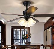 风扇灯美式电扇灯客厅家用餐厅书房吊扇灯复古带灯木叶遥控吊灯