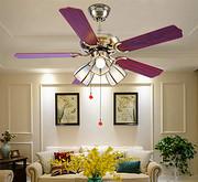 美式吊扇灯 简约木叶家用餐厅客厅吊扇灯 拉绳电风扇灯灯具灯饰