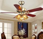 美式复古吊扇灯北欧简约餐厅客厅电风扇吊灯loft个性创意实木吊扇